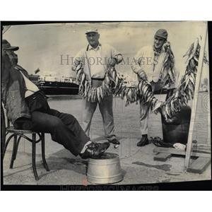 1961 Press Photo Rocky John Panzo Sebosky Fishing Perch