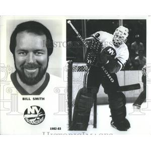 1985 Press Photo Bill Smith,New York Islanders hockey player - RSC54105