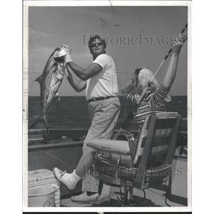 1962 Press Photo Man Holding Big Fish Gulf Stream