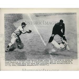 1949 Press Photo Grady Hatton Reds Safe At 3rd Sid Gordon Giants Waits For Throw