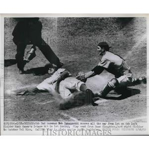 1952 Press Photo Cub 2nd baseman Bob Ramazzotti scores vs Cards Del Rice