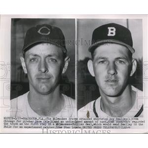 1954 Press Photo Roy Smalley, Milwaukee Braves, Dave Cole, Chicago Cubs