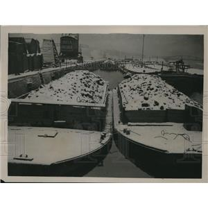 1923 Press Photo Loaded Coal Barges Sitting Useless in Rhine-Herne Canal