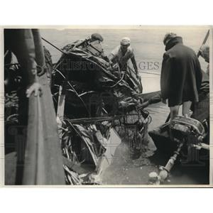 1930 Press Photo Wreckage of a plane piloted by two boys during 4th of July