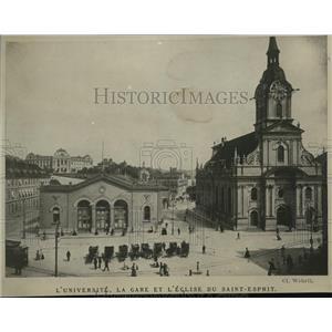 1919 Press Photo L'Universite, la Gare et L'eglise du Saint-Esprit in Berne City