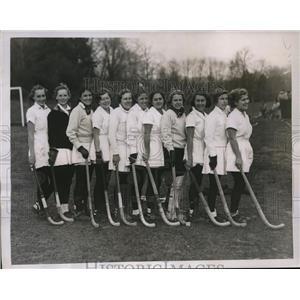 1934 Press Photo S NJ HS field hockey champ N Wood, H Conlin,AM Weber