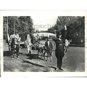 1935 Photo militia man directing diverse traffic Tashkent Uzbekistan