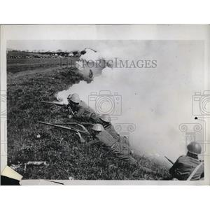 1935 Press Photo Premier Mussolini was spectator at recent realistic maneuvers