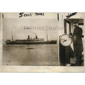 1915 Press Photo NYC Steamship Lafayette & Captain Louis Koch arrive