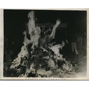 1938 Photo bonfire created to dispose post-election campaign placards