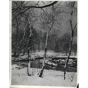1931 Press Photo Snow Covered Wade Park Cleveland Ohio - nee09021