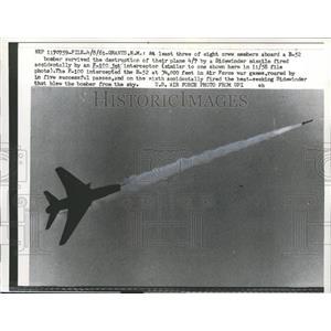 1961 Press Photo F-100 Jet Interceptor Plane Fires Missile - nee13380