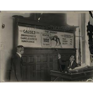 1923 Press Photo The striking warning designed to reduced the auto accidents