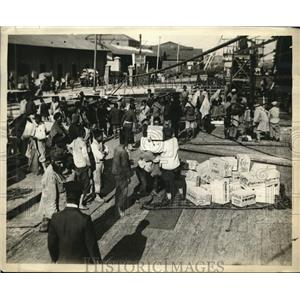 1928 Press Photo Ship Load of Supplies for Japanese Earthquake from American