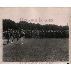 1922 Press Photo President Harding reviewing student soldiers at Camp Meade