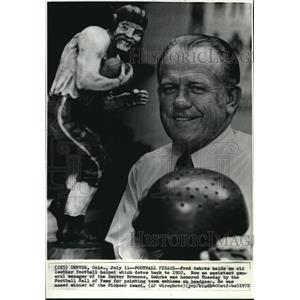 1972 Wire Photo Fred Gehrke Holds an Old Leather Football Helmet dated 1902