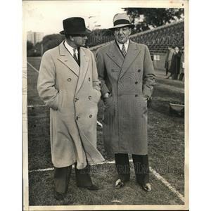 1935 Press Photo Harry Kipke, Lou Little Football  - nee20633