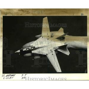 1985 Press Photo Small, F014 Tomcat made entirely of paper, tape and glue
