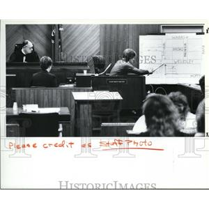 1989 Press Photo Gregory Rowley points to a map while testifying