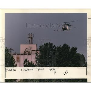1992 Press Photo Aerial Spraying Helicopter Over Tree Tops Portland Gypsy Moth