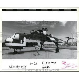 1988 Press Photo A Sikorsky S-64 Skycrane, Evergreen International Aviation