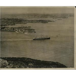 1929 Press Photo aerial view of ocean liner Orford sailing from Sydney Harbor