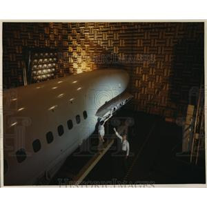 1988 Press Photo Acoustic testing on DC-9 aircraft fuselage - spa34234