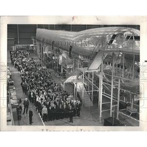 1967 Press Photo Boeing 747 Plane Construction Factory