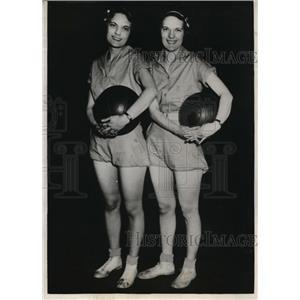 1932 Press Photo Marjorie & Martha Dobyns Christian College basketball Columbia
