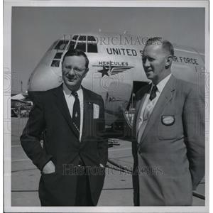 1956 Press Photo Mayor Frank Zeidler and W.A. Pulver at Lockhead Aircraft Corp.