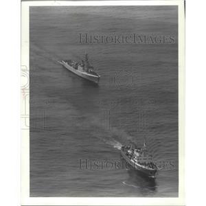 1982 Press Photo Soviet Surveillance Ship Trailed by Canadian Coast Guard