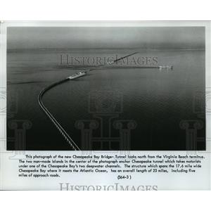 1964 Press Photo Chesapeake Bay Bridge Tunnel from Virginia Beach Terminus