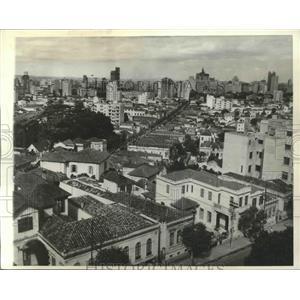 1943 Press Photo Santos, Brazil Seaport Aerial View - ftx02087