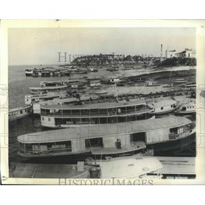 1943 Press Photo Manaos, Brazil River Boats - ftx02088