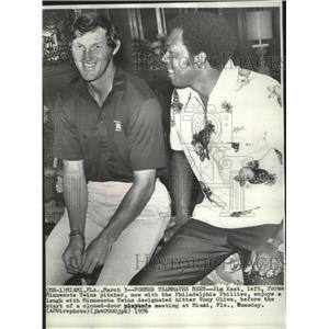 1976 Press Photo Minnesota Twins baseball players new & old,Tony Oliva, Jim Kaat