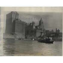 1926 Press Photo New York Sir Alan Cobham seaplane towed by S.S. Homeric NYC