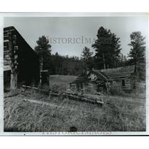 1987 Press Photo Tumbled-down remains of a ghost town in South Dakota