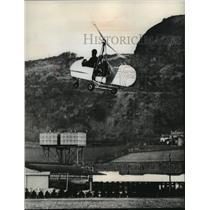1966 Press Photo Rex McCandless in autogyro miniature plane in flight