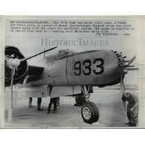 1961 Press Photo Cuban Air Force Plane Pilot Lands in Miami for Political Asylum