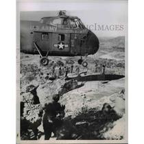 1953 Press Photo Helicopter delivers engineering supplies to troops - nem43724
