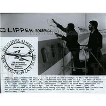 1983 Press Photo Pan Am mechanic Jerry Collymore & Foreman Mike Ambrosina.