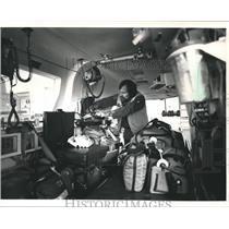 1991 Press Photo Flight For Life Nurse Steve Elsenman Conducts Preflight Checks