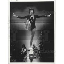 1879 Press Photo Gymnast Jan Rohrer of Eastern Washington on balance beam