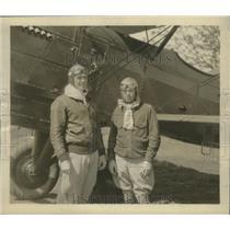1930 Press Photo Major Milling, Major Arnold celebrate aerial reunion