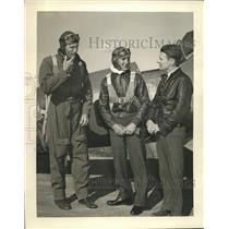 Press Photo Wrong Way Douglas Corrigan, Capt James Andrew, Cadet J Cruzi
