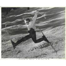 1988 Press Photo A skier performs a mid-air trick