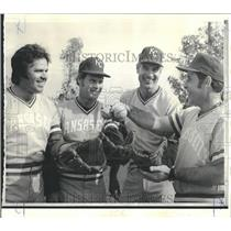 1974 Press Photo Kansas City Royals Mgr. Jack McKeon with New Pitching Staff