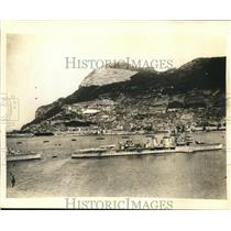 1935 Press Photo View of Harbor and Rock of Gibraltar - sbx10069