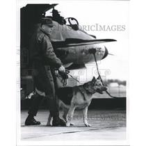 1967 Press Photo Canine and handler guard fighter for Aerospace Defense Command