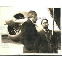 1936 Press Photo Eugene Vidal with Pilot Benny Griffin Inspecting New Laboratory
